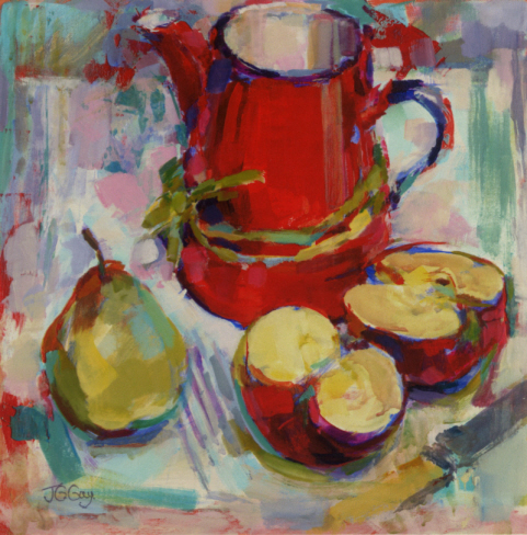 Red Jug and fruit print